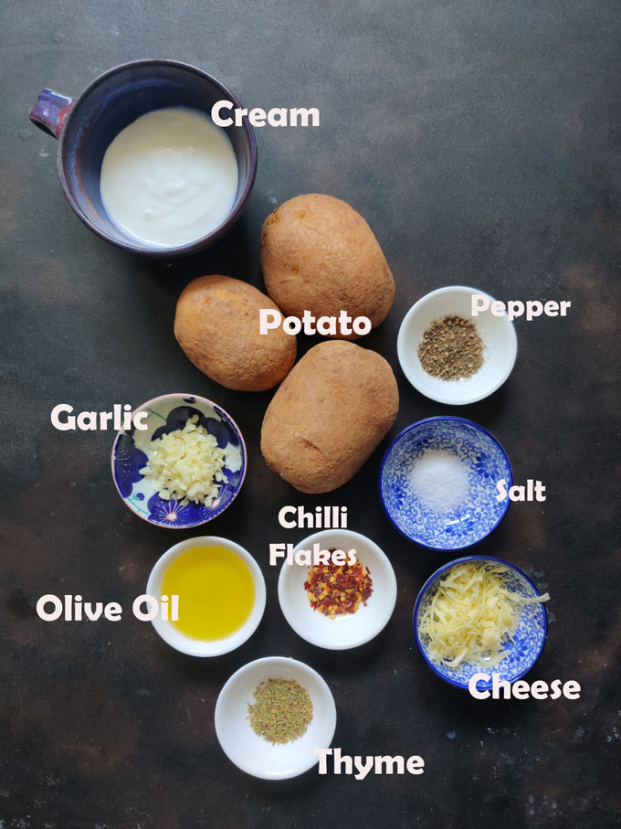aerial shot of ingredients for making cheesy baked potato