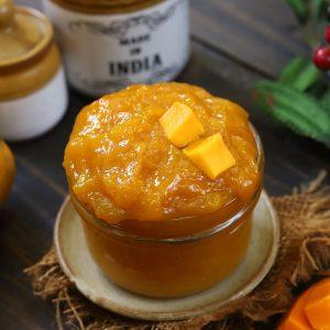 side shot of mango jam in a jar