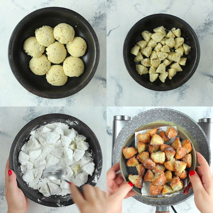 step by step cooking method of frying idli for manchurian