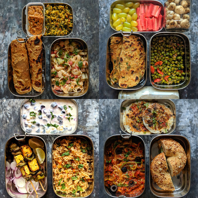 collage of packed Indian lunchboxes