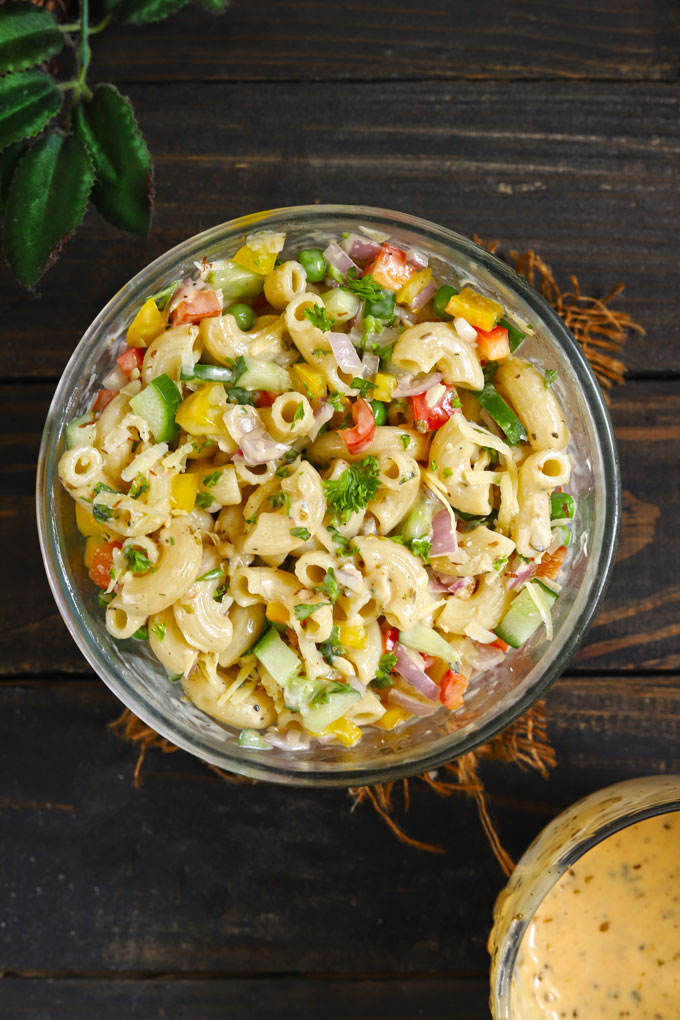 aerial shot of macaroni salad in a glass bowl