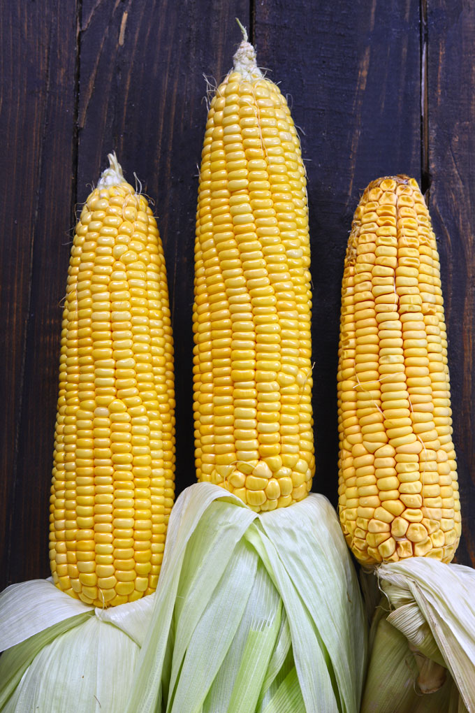 aerial shot of corn on cob on a black surface