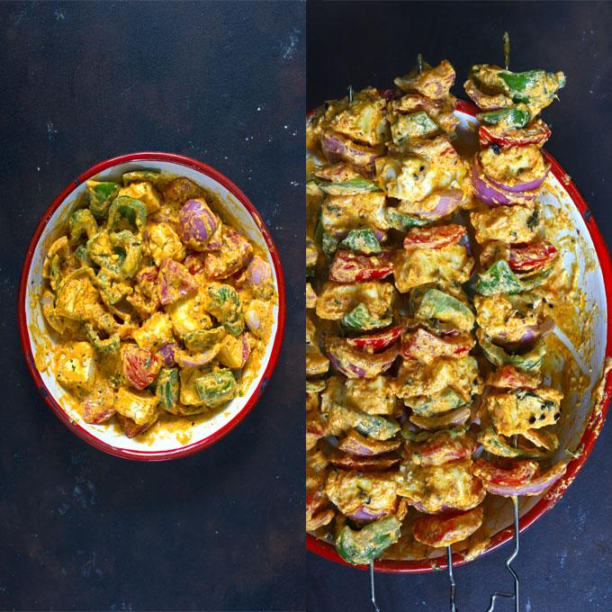 Collage of marinated paneer and vegetable skewers