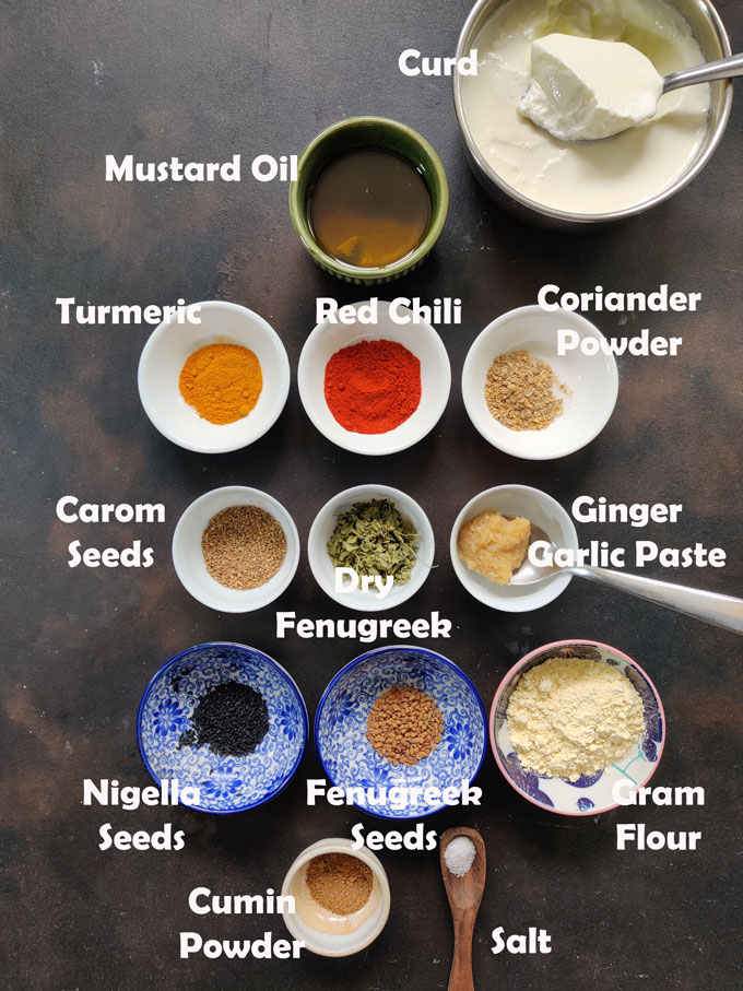 Ingredients for paneer tikka marinade