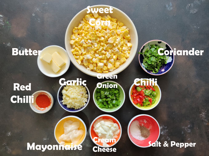 Ingredients for Cheese Corn Dip