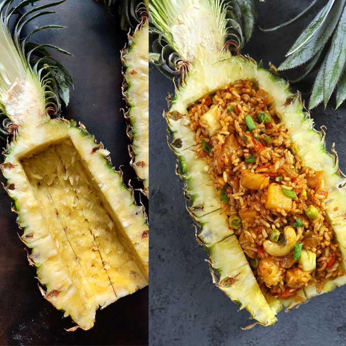 collage of fried rice served in a pineapple boat