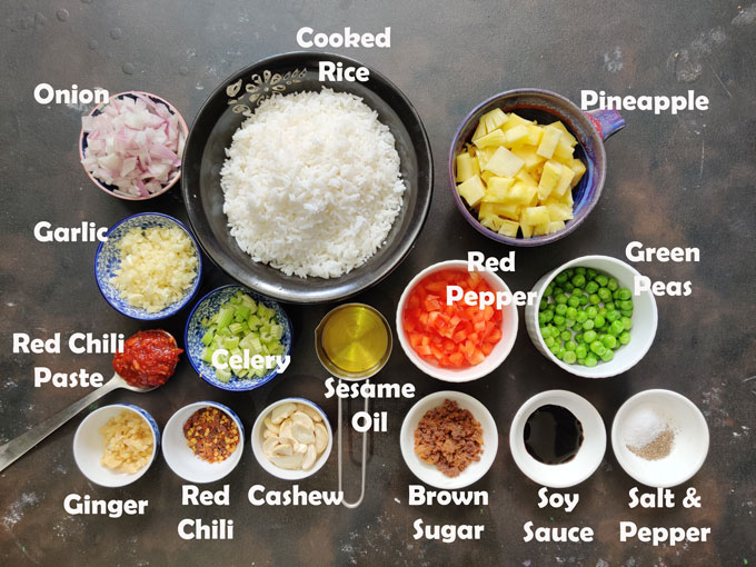 Ingredients for fried rice with pineapple