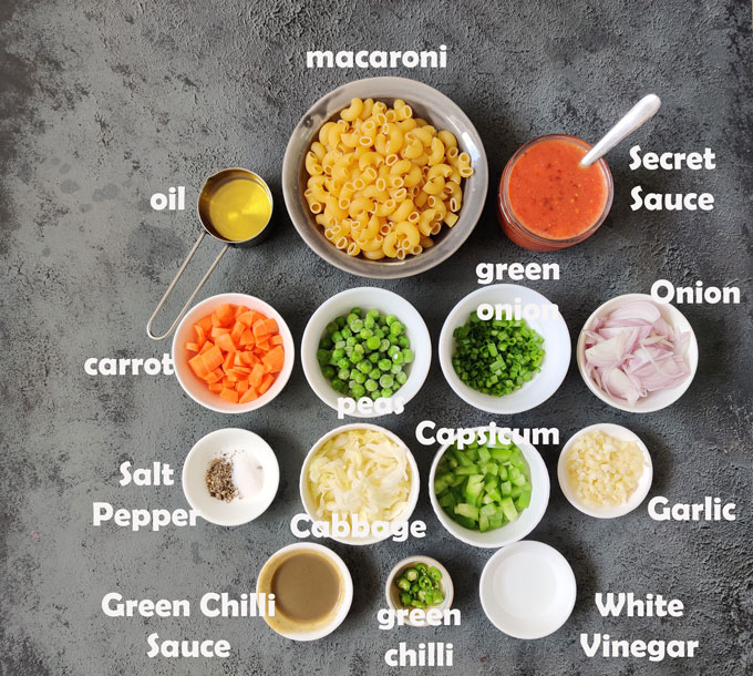 Ingredients required for making spicy Indian macaroni pasta