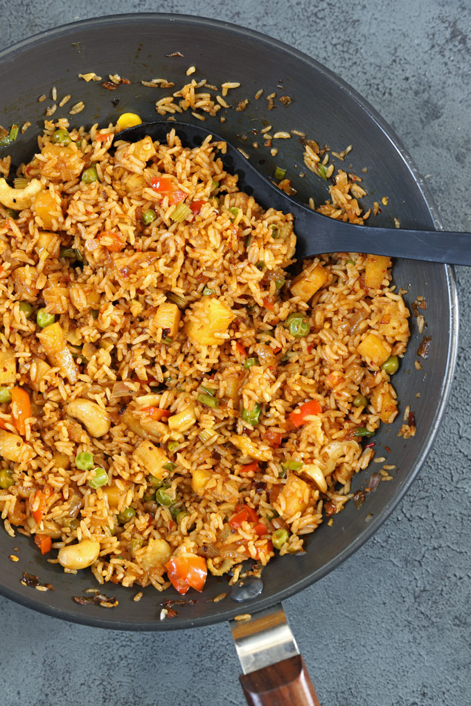 aerial shot of fried rice in a wok