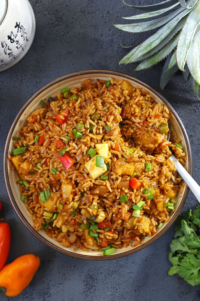 aerial shot of pineapple fried rice in a bowl