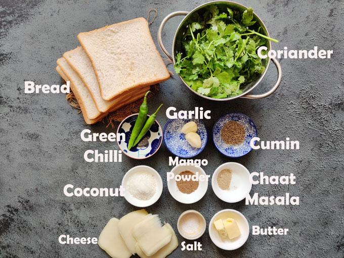 Ingredients for Chutney Sandwich